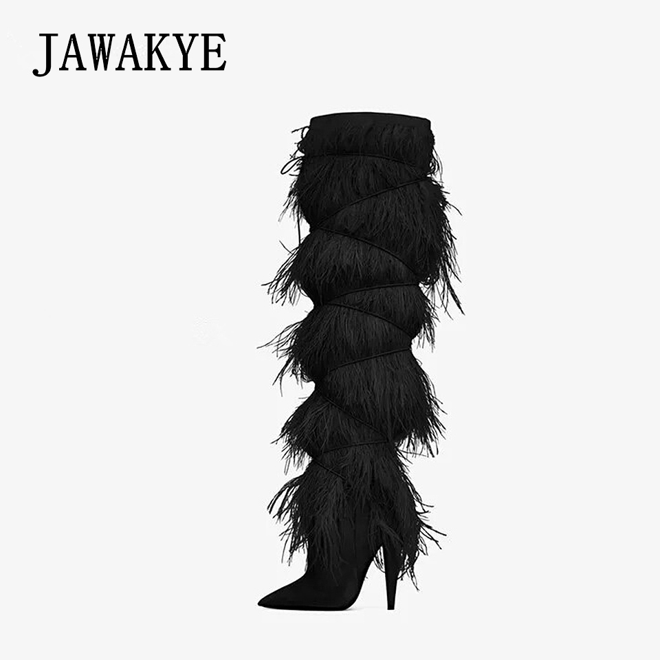 2018 Fur Feather Cover suede Knee high boots women Pointy Tassel High heel Leather Motorcycle Boots Runway Winter Shoes Woman tassel suede leather knee high women winter boots fashion folded design tassel block heeled booty