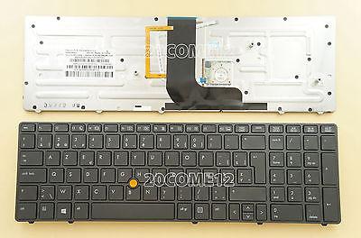 For HP EliteBook 8560w 8570w Keyboard Belgian Clavier Backlit 703149-A41 Azerty