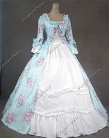 Custom Made-Renaissance Gothic Spring Floral Print Period Dress