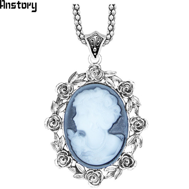 Rose flower lady queen cameo pendant necklace for women vintage rose flower lady queen cameo pendant necklace for women vintage antique silver plated fashion jewelry tn132 aloadofball Gallery