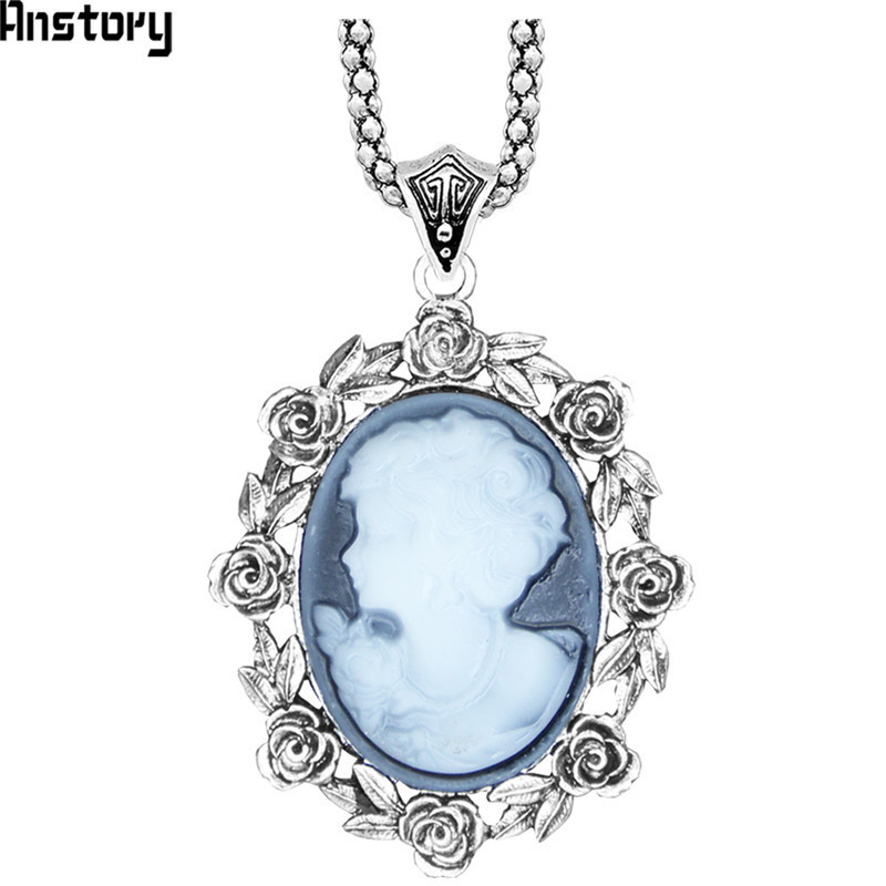 Fashion Women Cameo Crystal Beauty Head Long Chain Pendant Necklace Jewelry