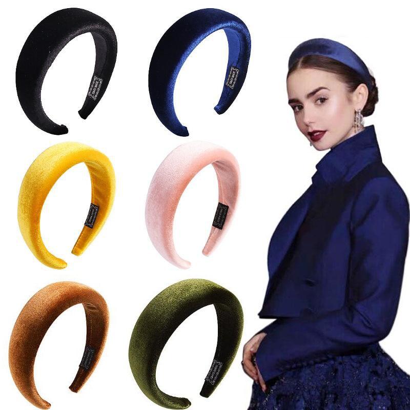 FASACC Women Thick Sponge Bezel Velvet Vintage Head Band Lady Hoop Wide Hairbands Woman Headbands Korean Girls Hair Accessories