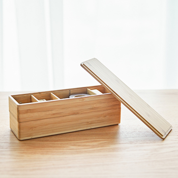 Bamboo Wood Office Desk Organizer Multi-Use Creative Office Supplies Stationery Box Can Strip Storage Box in the Drawer Stack 1