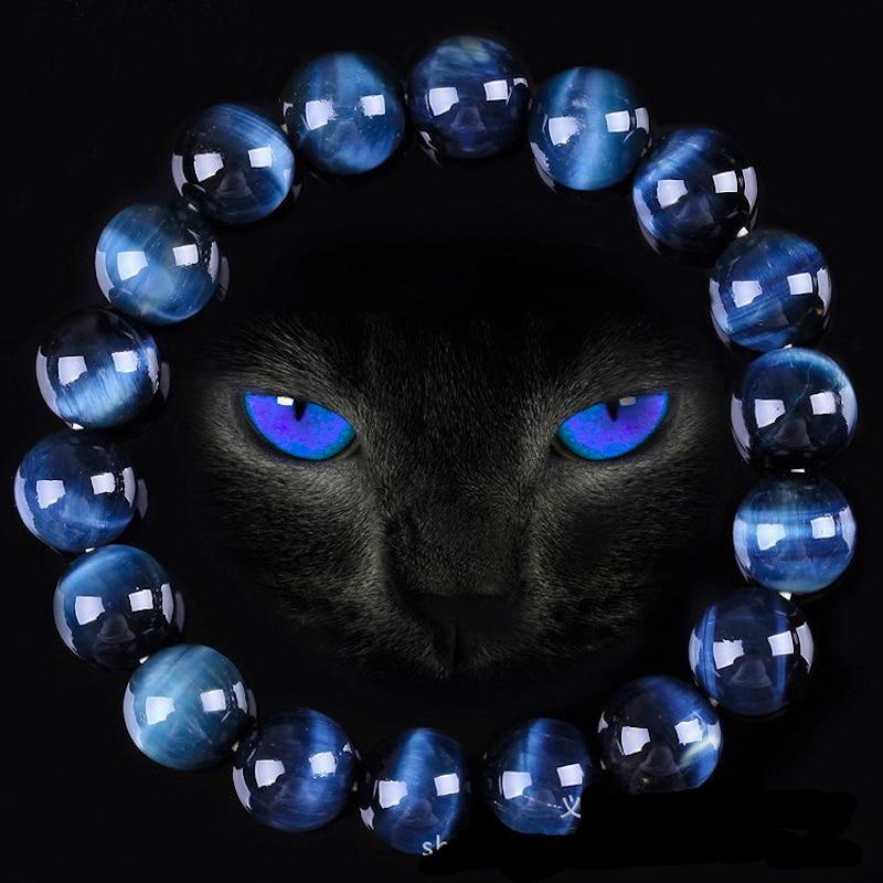 Natural High Quality AAA Blue Tiger Eye Buddha Bracelets Men Stone Round Beads Strand Women Charm Bracelet Energy Jewelry