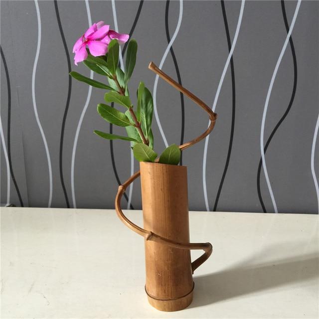 Handmade Bamboo Flower Vase For Home Wedding Tea Desk Decoration