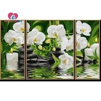 Kim cương hoa sơn hoa lan Thạch may Kim Cương thêu triptych Modular tường bức tranh Sở Thích thủ công mỹ nghệ mazayka
