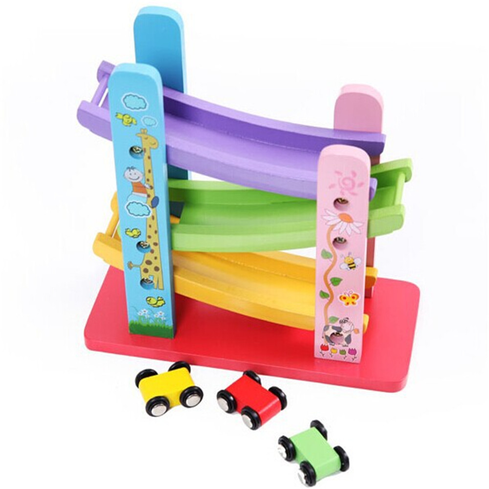 Baby Kids Wooden Ladder Gliding Car Wooden slot Track Car Toys Educational Model to Slide toy for children boy gifts#