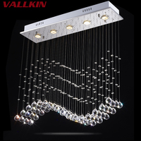 LED Crystal Pendant Light Waves Lighting Round Rectangle Hanging Light Lamp For Hallway AC 110 To