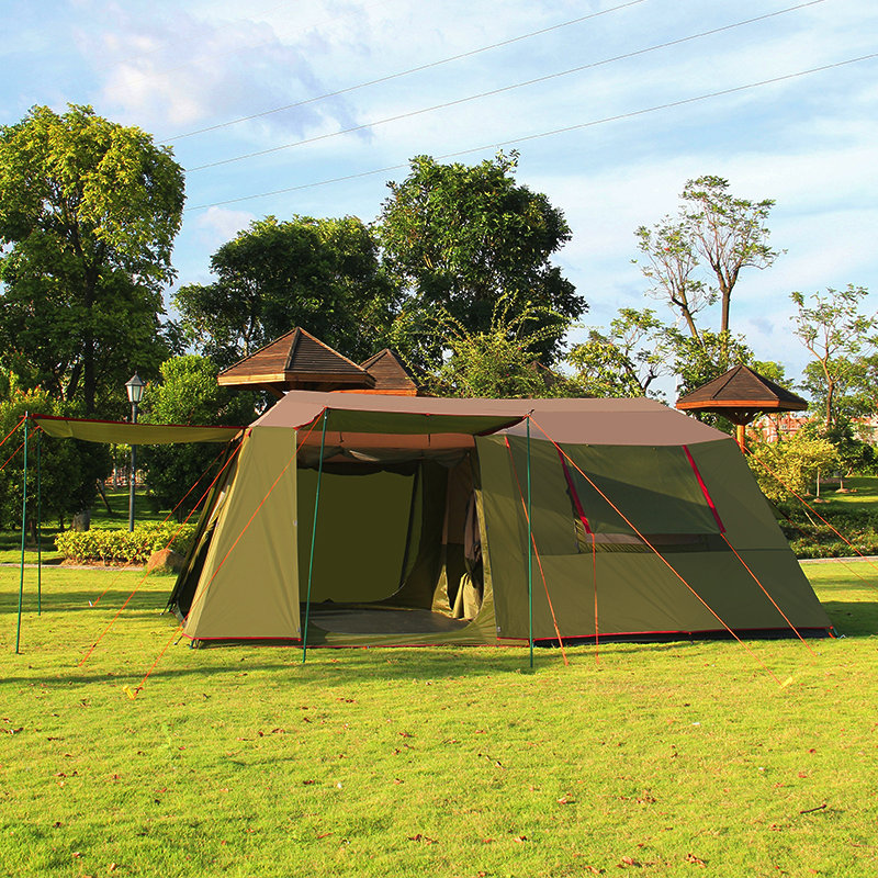 Outdoor two rooms one hall 5-8 people camping tent double layer big space family tents high quality waterproof camping tent trackman 5 8 person outdoor camping tent one room one hall family tent gazebo awnin beach tent sun shelter family tent