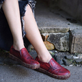 2016 new autumn women shoes retro national trend genuine leather shoes casual and comfortable all-match flat shoes