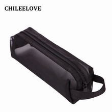 CHILEELOVE Small Size Black Transparent Grid Collection Bag Handbag For Makeup Brushes Kit Cosmetic Tool(China)