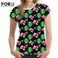 Forudesigns new 3d brilhante floral t shirt mulheres bonitas roupas de marca O Pescoço T-shirt Casual Tops T Blusa Plus Size Feminina Feminino