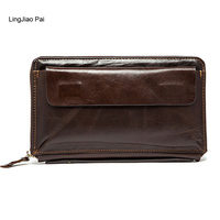 LingJiao Pai Long Men Wallet Male Leather Travel Credit Card Wallet Zipper Cell Phone Pocket Handbag