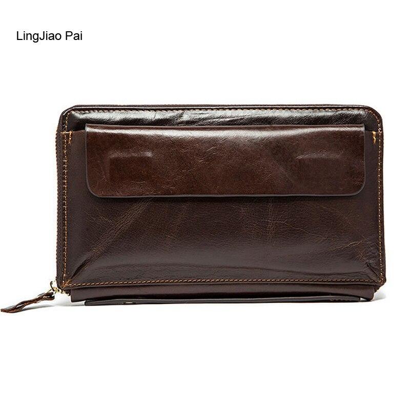 Wasser kastanien Pai Lange Männer Männlichen Leder Reise Kreditkarte Brieftasche Reißverschluss Handytasche Handtasche