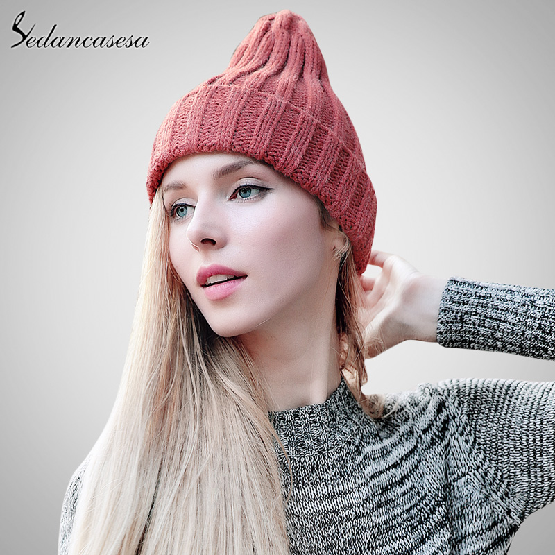 Women's winter hat knitted solid beanies female fashion skullies casual outdoor ski caps thick warm hats for women gorros cap women men winter warm ski crochet baggy beanies hat cap beret skullies knitted gorros bonnet femme hiphop twisted hats w1 q1