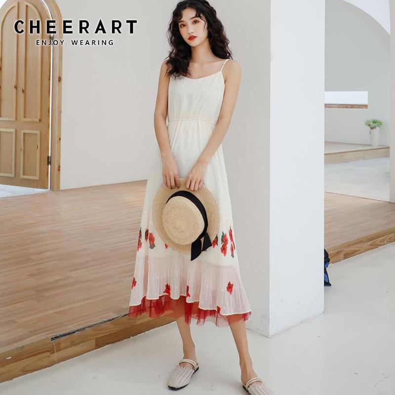 Cheerart Spaghetti Strap Dress Women Summer Patchwork Red Mesh Color Block Casual Long Midi Dress Korean Fashion Clothes