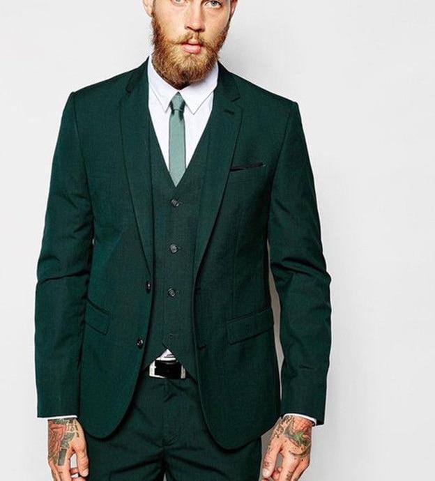 New suit suits Dark Green Casual Men Suits Slim Tuxedo Prom Blazer Jacket+Vest+Pants Men Suits Wedding Best Man