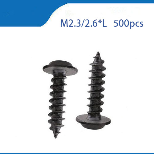 M2.3/2.6mm Black Nickel Plated Steel Cross Philips Pan Round Head Pointed Tail Self Tapping Screw With Washer 500pcs m2 4 5 6 8 10 12 2mm nickel plated micro electronic screw cross recessed phillips round pan head self tapping screw