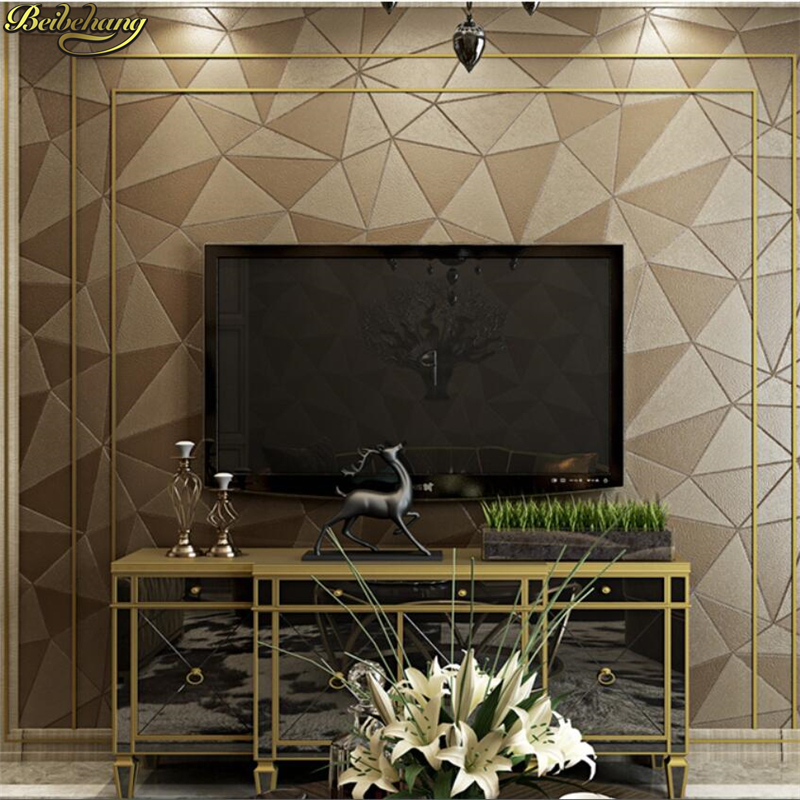 Beibehang Elegant Soft Patch Pattern TV Background Wallpaper Thickness 3d 3d KTV Living Room Leather Polygons Purple Wallpapers