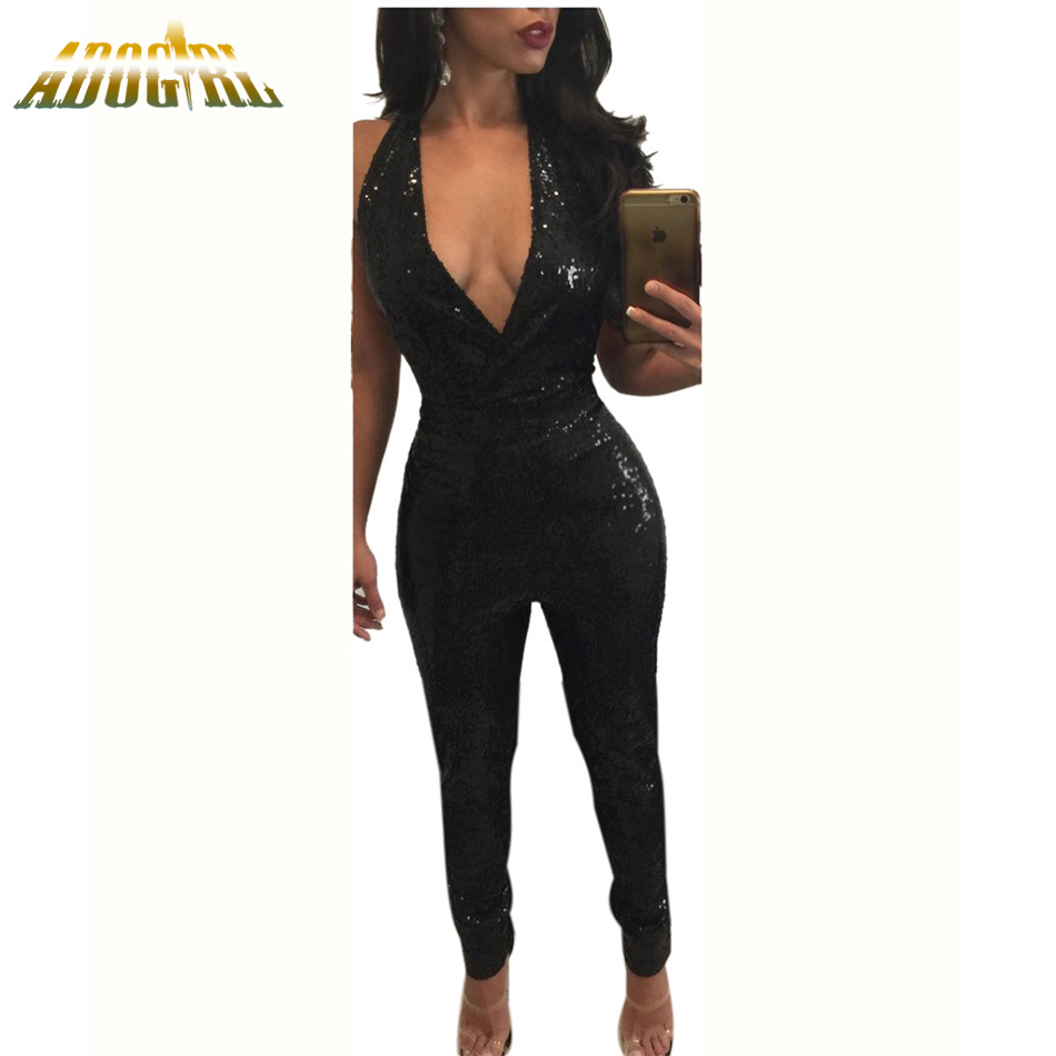 Adogirl Hot Fashionable 2017 Backless Club Wear Jumpsuit Summer Women Sexy Deep V Neck Full Length Rompers Plus Size Overalls