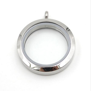 Wholesale 20mm 25mm 30mm 38mm Silver Plain Twist Screw Floating Locket 316L Stainless Steel Living Memory Glass Locket Pendant(China)
