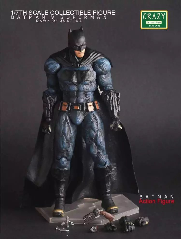 все цены на Anime Figurines Crazy Toys Superhero Batman vs Superman Dawn of Justice Batman Action Figure PVC Doll Collectible Model Toy 22cm в интернете