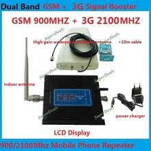GSM 3G Amplifikatör LCD Ekran 65dB Kazanç GSM 900 mhz 3G WCDMA 2100 mhz Dual Band Booster Mobil Tekrarlayıcı Repetidor De Sinal Celular