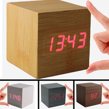 Fashion vintage Digital LED Wood Square Cube Desk Shelf Sound Control  Multi-function Alarm Clock home accessories