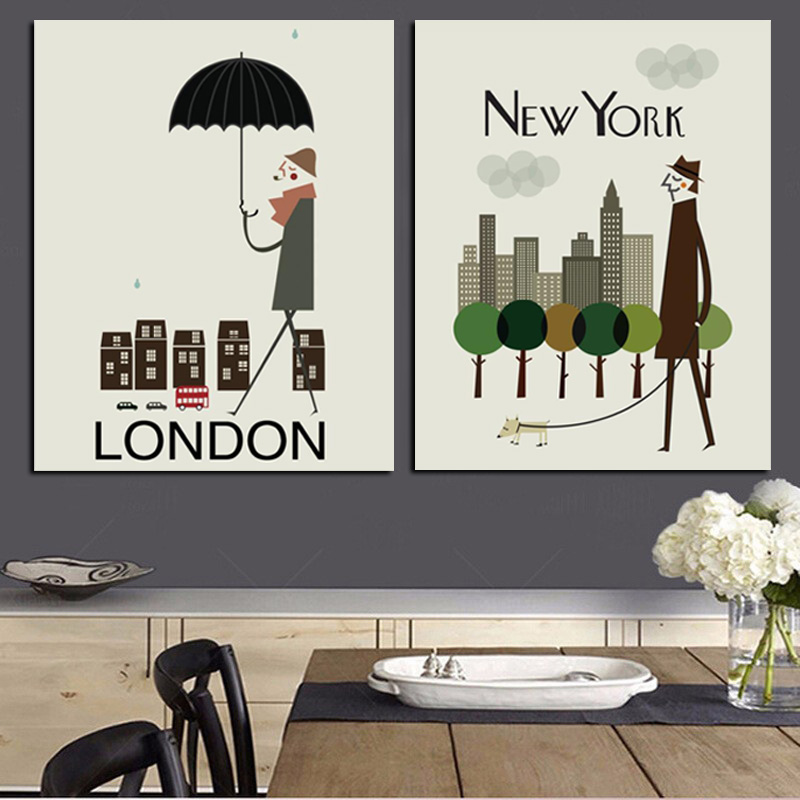 2Panel Modern Building Canvas Painting London New York Urban Skyscraper Minimalist Poster Pop Art Wall Picuture for Living Room ...