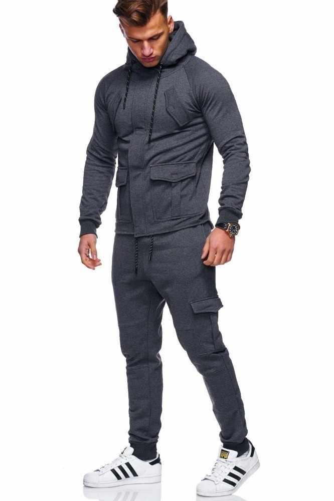 Осень 2018, новинка, мужские комбинезоны, спортивный костюм, набор, мужские брюки-карго, толстовки, наборы, высокая улица, черная толстовка с капюшоном, спортивные штаны, M-3XL