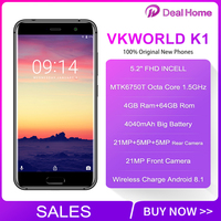 Free Gifts VKWORLD K1 Three Rear Camera Smartphone 5.2'' FHD 4GB RAM 64GB ROM MTK6750T Octa Core Android 8.1 4G LTE Mobile Phone