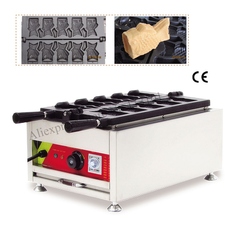 Commercial Ice Cream Taiyaki Maker 5 Moulds Open-mounth Fish Waffle Taiyaki Machine 220V 110V Taiyaki Machine taiyaki maker with ice cream filling taiyaki machine for sale ice cream filling to fish shaped cake fish cake maker
