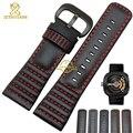 2016 Nuevo Cuero Genuino correa de reloj 28mm Correa de reloj de pulsera Negro con costura para Viernes y Hombres Reloj accesorios cinturones