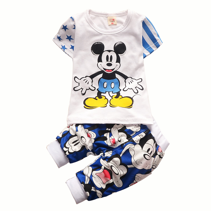 7092ca1087c4e US $9.29 25% OFF|summer Baby Boys Girls Mickey Minnie Clothing Set children  Fashion cartoon T shirt+ shorts Suit bebes Kids Infant Sport Clothes-in ...