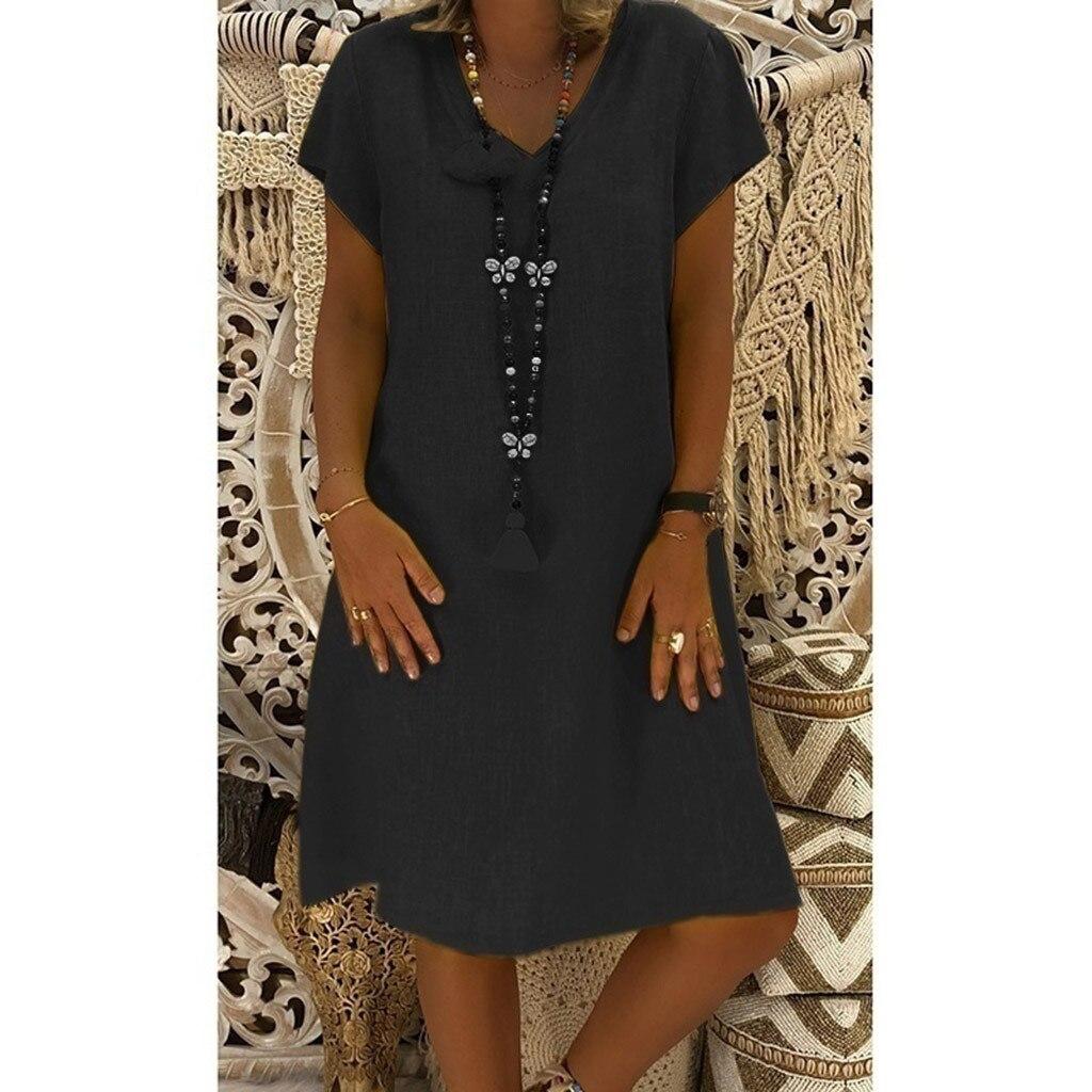 Women Fashion Summer Dress Casual Style Feminino Vestido Cotton Plus Size L5 Ladies Dress Sukienki Damskie Loose Summer Dress