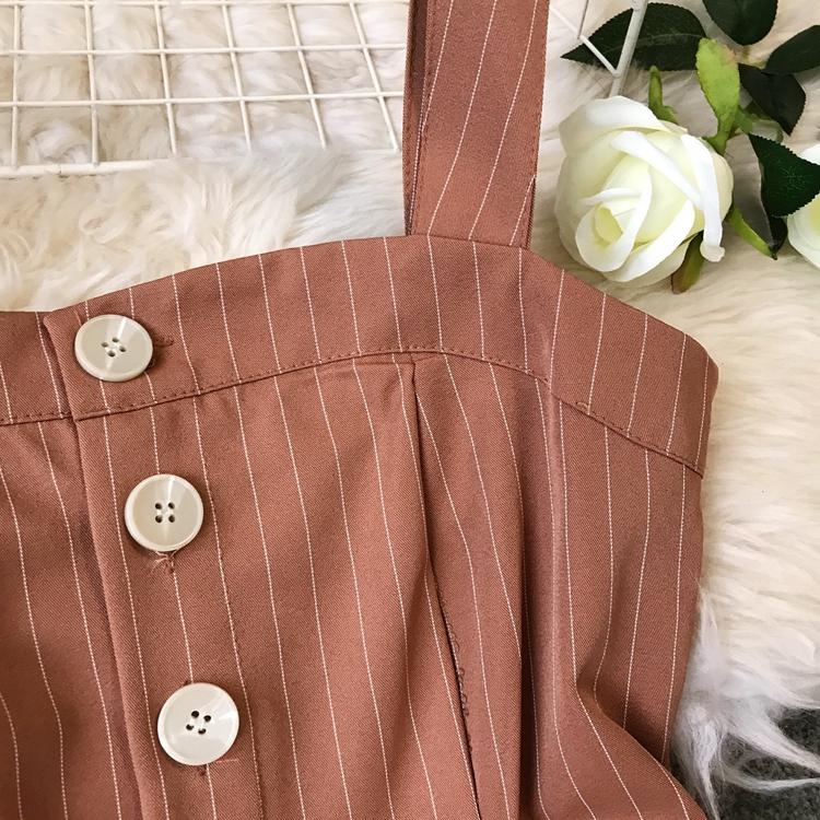 2019 Spring and Summer Korean New Stripe High Waist Open-back Jumpsuit Women Sleeveless Broad-legged Overalls G794 18