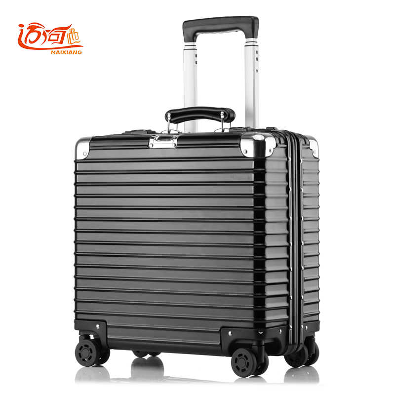 New 24 inch retro all aluminum magnesium alloy luggage spinner carry on boarding business trolley suitcase fashion valise