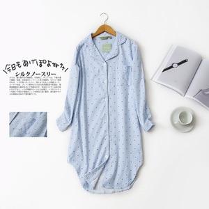 Image 3 - Autumn Stripe Polka Dot Sexy Women Sleepshirts 100% Brushed Cotton Fresh Simple Nightgowns Women Sleepwear Nightdress Nightwear