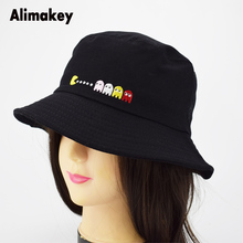6c18e393d47 New PIXELS Movie Pacman Bucket Hat Ghost And Pac Summer Man Panama Sunhat  Fishing Bucket Caps