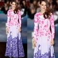 2017 Мода Весна Осень Женщины Цветочный Печати Шифон Пляж Платья О-Образным Вырезом Sexy Длиной Макси Партия Dress Vestidos Плюс Размер L893