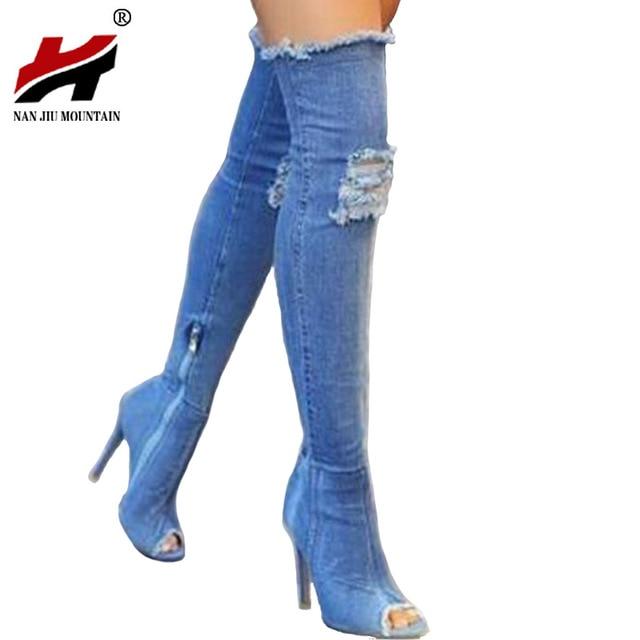 9cac05fdb0 2017 Hot Mulheres Botas outono verão peep toe Sobre As Botas Do Joelho de  Alta qualidade