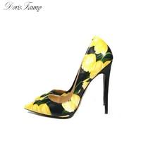 Цветок желтый обувь 2017 Новый дизайн пикантные Обувь на высоком каблуке с острым носком туфли на шпильке Свадебная обувь Бесплатная доставк...