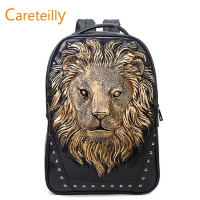 2019 Hot Sell PU Leather Backpack Lion Printed Pattern Backpacks Fashion Laptop Backpacks