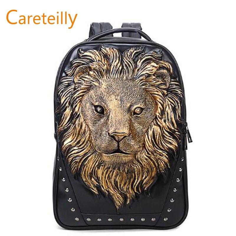 2019 vente chaude PU cuir sac à dos Lion imprimé motif sacs à dos de mode sacs à dos d'ordinateur portable