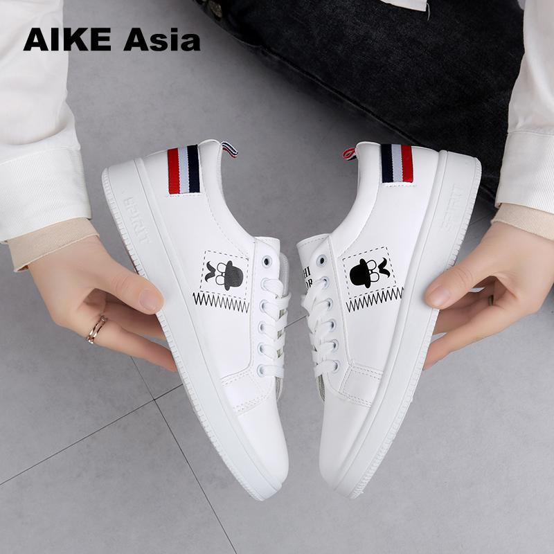 2019 Spring And Summer New White Shoes Fashion Flat Shoes Women Leather Ladies Shoes Female Sneakers Casual Shoes # S-8893
