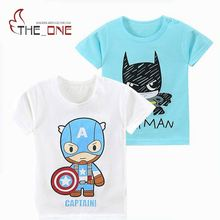 MUABABY 2017 1-6T Summer Baby T-shirts Boys Girls Cartoon Short Sleeve Cotton Batman Tops Tees Kids Casual Clothing for Children
