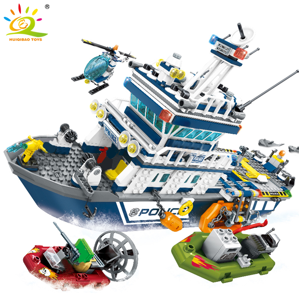 HUIQIBAO 869pcs Police Station Patrol Ship Building Blocks city plane boat Helicopter model brick Educational toys for Children
