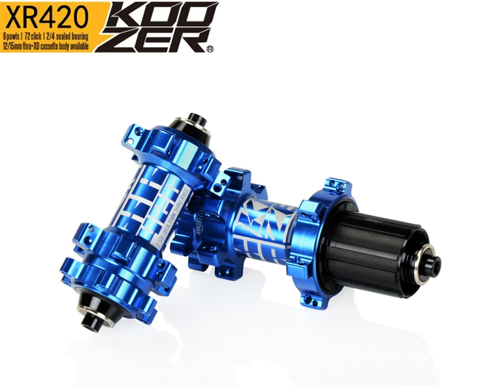 KOOZER XR420 Front Rear Hub 24 Holes Bicycle Hubs Quick Release 4 Bearings 6 Pawls 72 Clicks Straight Pull MTB Mountain Bike Hub