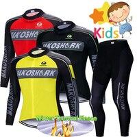 3 kolory Pro Team dla dzieci jazda na rowerze odzież zestaw zimowy termiczny polar z długim rękawem garnitur dla dzieci Pro BiB spodnie odzież rowerowa w Zestawy rowerowe od Sport i rozrywka na