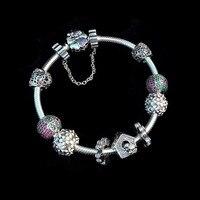 Сказочные цветок жизни best качество с красивым цветком сердце Шарм Европейский Стиль 925 серебряный браслет